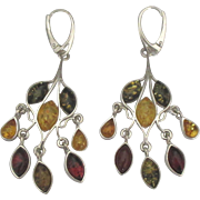 Runway Sterling Amber Chandelier Lever Back Pierced Earrings