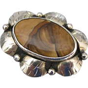 Vintage Navajo Sterling Layered Stripe Agate Ring- Size 5 3/4