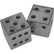 Vintage Jumbo Size Silver Plate Dice Set of 2