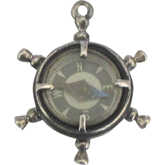 Vintage Beau Sterling Ship's Wheel Compass or Fob