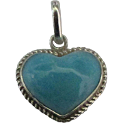 Petite Sterling Puffy Larimar Heart Pendant or Charm