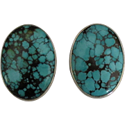 Gorgeous Sterling Spider Web Turquoise Omega Pierced Earrings