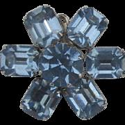 Sparkling Vintage Weiss Blue Rhinestone Earrings