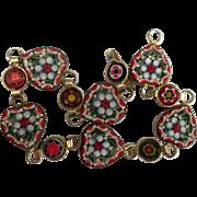 Vintage Italian Micro Mosaic Heart Bracelet