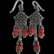 Ornate Sterling Salmon Coral Chandelier Pierced Earrings