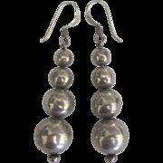 Vintage Graduated Sterling Bead Pierced Earrings