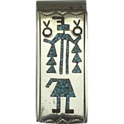Vintage NA Crushed Turquoise Kachina Money Clip