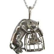 Whimsical Sterling Cat and Bird Cage Brooch or Pendant with Rolo Chain