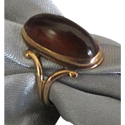 Edwardian Era 10K Amber Gold Ring