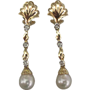 Elegant 14K Pearl Diamond Omega Pierced Earrings
