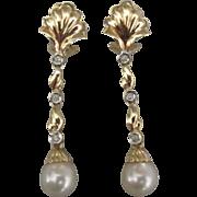Elegant 14K Pearl Diamond Omega Pierced Earrings