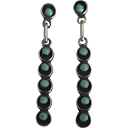 Vintage Navajo Sterling Turquoise Dangle Pierced Earrings