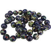 Vintage Chinese Cobalt Blue Floral 12 mm Bead Necklace