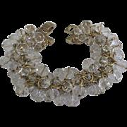 Sparkling Vintage Clear Dangle Faceted Crystal Bead Bracelet