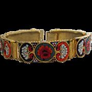 Vintage Italian Micro Mosaic Tile Link Bracelet
