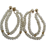 Lovely 14K Freshwater Pearl Double Loop Pierced Earrings