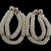 Lovely 14K Freshwater Pearl Double Loop Pierced Earrings