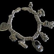 Vintage Sterling Baby Theme Charm Bracelet