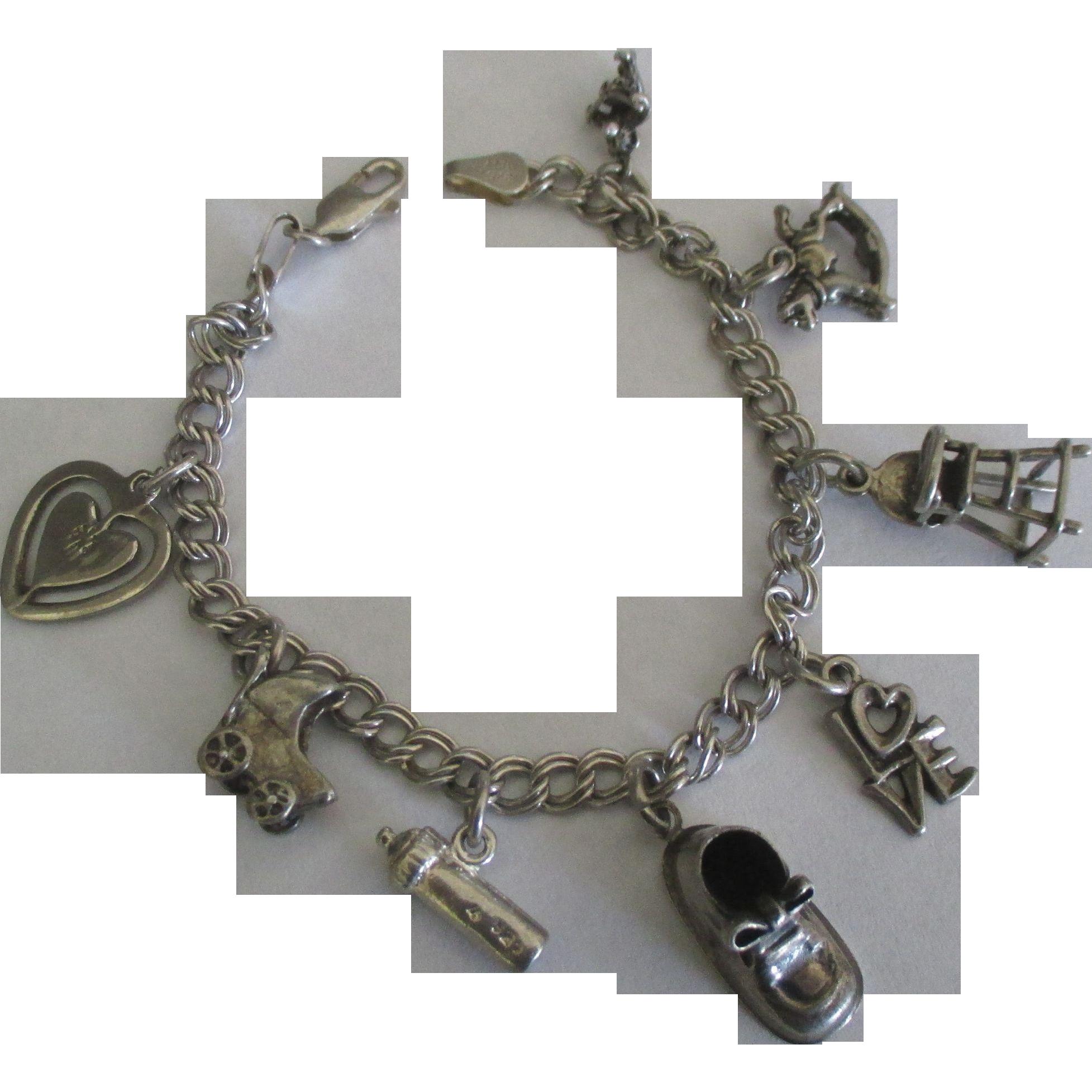 Baby Charm Bracelets: Vintage Sterling Baby Theme Charm Bracelet From