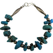 Wonderful Vintage Sterling Turquoise Nugget Bracelet