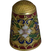 Ornate Vintage Champleve Cloisonne Thimble