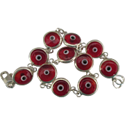 Vintage Sterling Italian Red Glass Evil Eye Bracelet