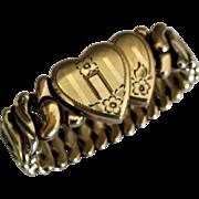 Charming 1940's Double Heart Sweetheart Bracelet