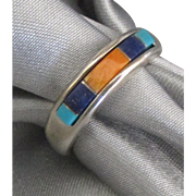 Vintage Inlaid Lapis Turquoise Shell Sterling Ring- Size 6 3/4