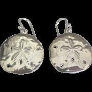 Lovely Sterling Sand Dollar Shell Pierced Earrings