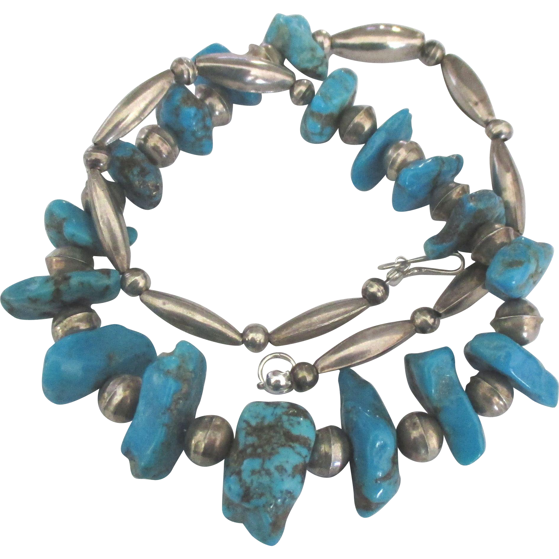 Sterling bead chunky graduated turquoise nugget necklace for Jewelry making classes san diego