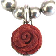 Vintage Sterling Bead Carved Coral Rose Necklace