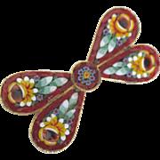 Vintage Italian Micro Mosaic Bow Tie Brooch