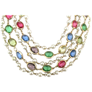 Spectacular 5 Graduated Bezel Set Glass and Faux Pearl Necklace