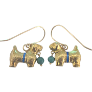 Adorable Puppy Enamel Gold Tone Pierced Earrings