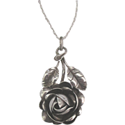 Estate Sterling Silver Dimensional Rose Pendant and Chain