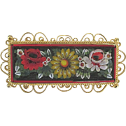 Vintage Italian Micro Mosaic Bar Brooch