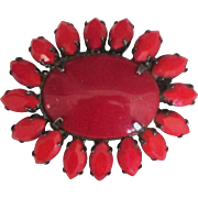 Vintage Red Czech Glass Jappaned Brooch