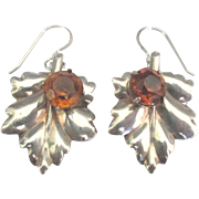 Vintage Sterling Amber Glass Leaf Pierced Earrings