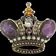 Elegant Mogul Rhinestone Crown Brooch