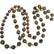 """Spectacular Tiger's Eye with Crystal Bead 38"""" Necklace"""