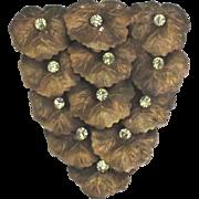 Vintage Brass Flowers Rhinestone Furclip