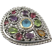 Spectacular Large Sterling Multi Gemstone Ring- Size 6 3/4