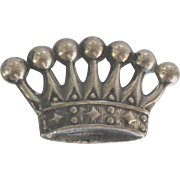 Vintage Sterling European Crown Brooch