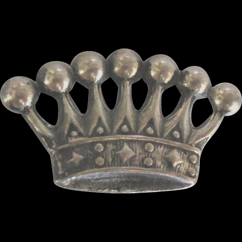 Vintage Sterling European Crown Brooch