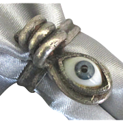 Vintage Glass Evil Eye Metal Adjustable Ring