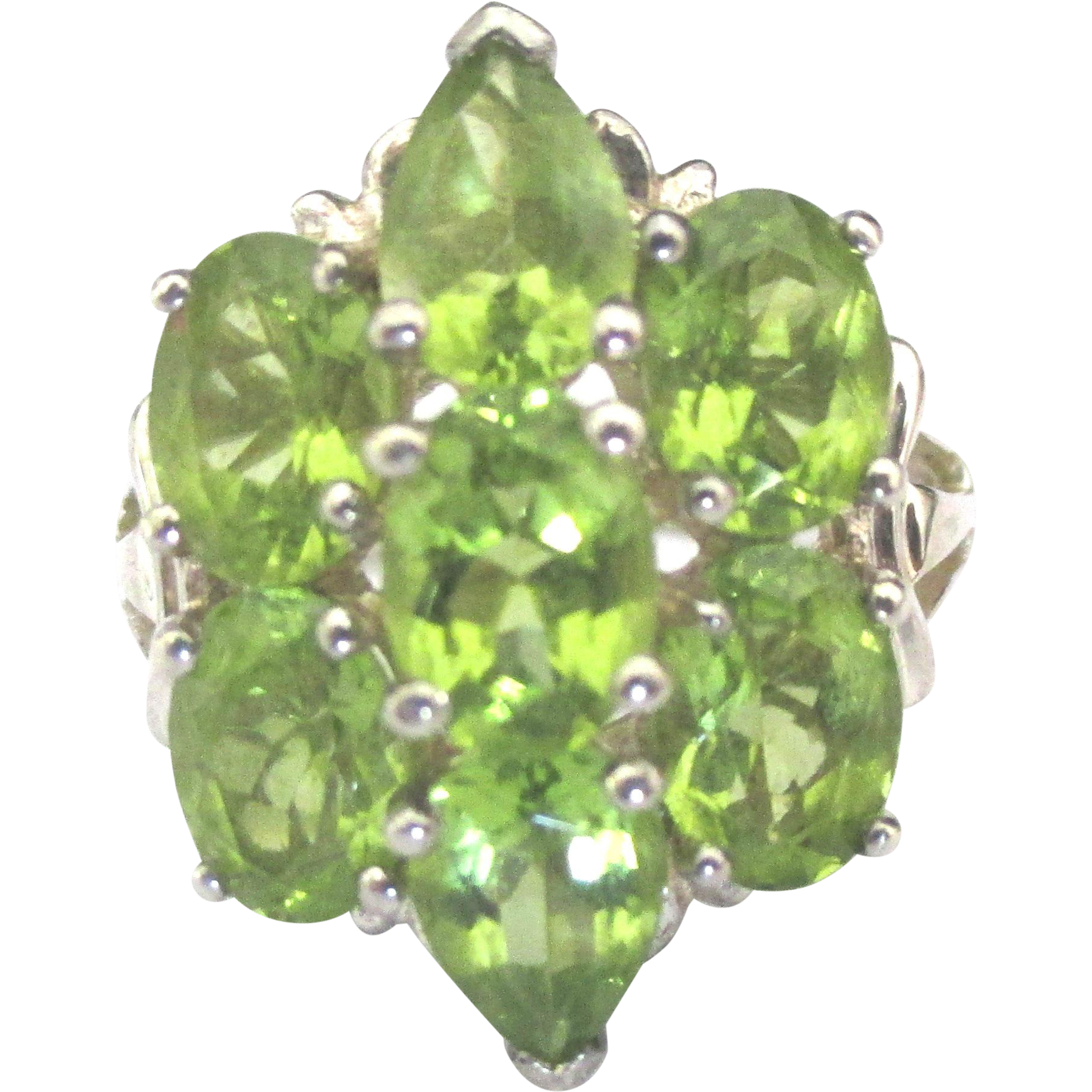Stunning Sterling Peridot Cocktail Ring- Size 5 3/4