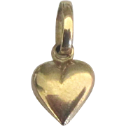 Vintage 14K Petite Puffy Heart Pendant or Charm