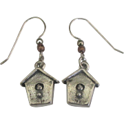 Charming Sterling Bird House Pierced Earrings