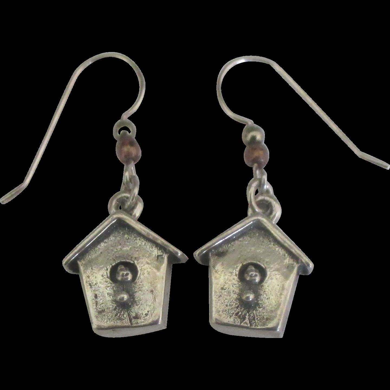 Charming Sterling Bird House Pierced Earrings