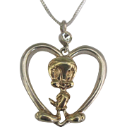 Vintage Sterling Silver Gold Overlay WB Tweety Bird Heart Pendant